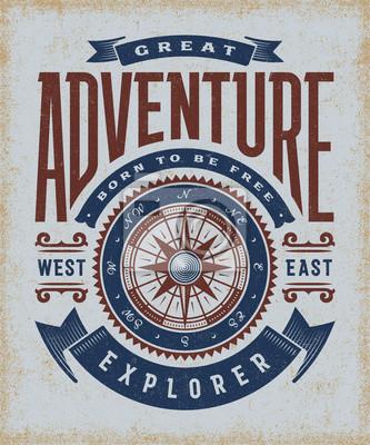 7553b89c2497d3 Bild Weinlese-große Abenteuer-Typografie. T-Shirt und Etiketten im  Holzschnitt.
