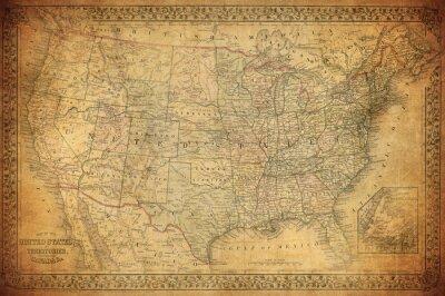Bild Weinlese-Karte der Vereinigten Staaten 1867