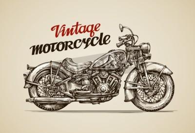 Bild Weinlese-Motorrad. Hand gezeichnet Motorrad Vektor-Illustration