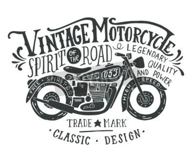 Bild Weinlese-Motorrad. Hand gezeichnetes grunge Weinleseillustration mit der Handbeschriftung und einem Retro Fahrrad. Diese Illustration kann als Druck auf T-Shirts und Taschen, stationär oder als Plakat