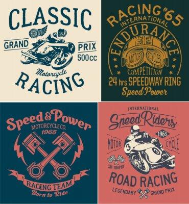 Bild Weinlese-Motorrad-laufende Drucke für Jungen-T-Shirt