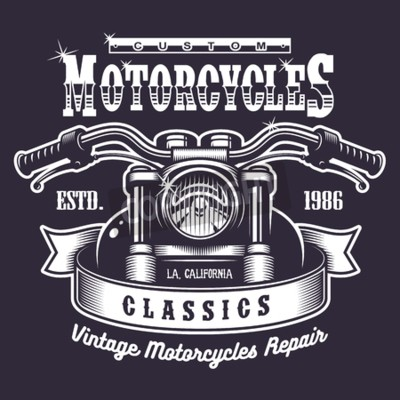 Bild Weinlese-Motorraddruck. Monochrom auf dunklem Hintergrund