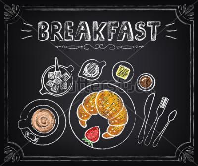 Bild Weinlese-Plakat. Frühstück. Croissant und Kaffee. Setzen Sie auf der Tafel für Design im Retro-Stil