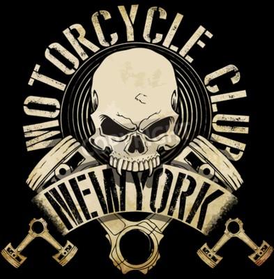 Bild Weinlese-Radfahrer-Schädel-Emblem-T-Stück Grafik