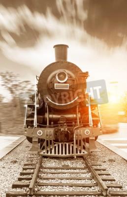 Bild Weinlese schwarzer Dampf angetriebener Eisenbahnzug