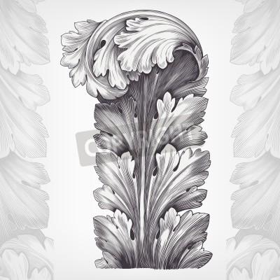 Bild Weinlese, Stich Akanthus ornament Laub mit Retro-Muster im antiken Stil des Rokoko dekorativ Vektor