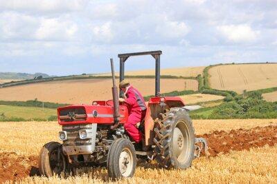 Bild Weinlese-Traktorpflügen