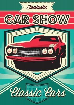 Bild Weinleseplakat für die Ausstellung von Autos
