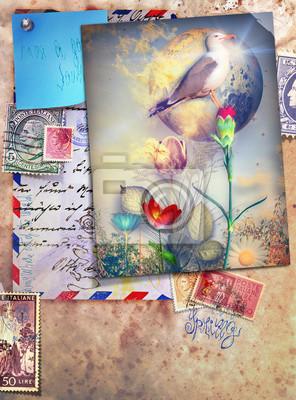 Weinlesepostkarten mit Vogel und farbigen Blumen.