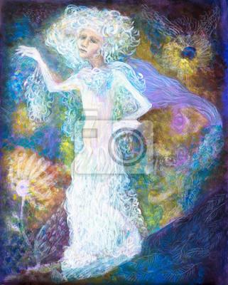 Weiß Fairy Frau Geist im hellen Kleid auf abstrakte farbenfrohe