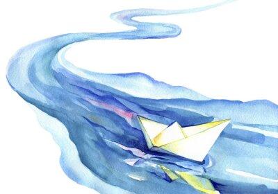 Bild Weißbuch Boot schwimmt im Wasser. Aquarellmalerei des Flusses und des Schiffs auf einem weißen Hintergrund.