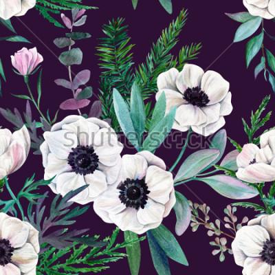 Bild Weiße Anemonen und Blätter auf purpurrotem Hintergrund. Nahtloses Muster des Aquarells, farbenreich, Hand gezeichnete Illustration.