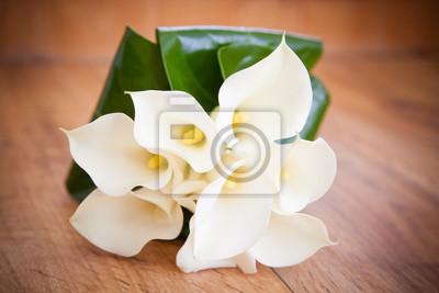 Weisse Calla Lilien Hochzeits Blumen Blumenstrauss Leinwandbilder