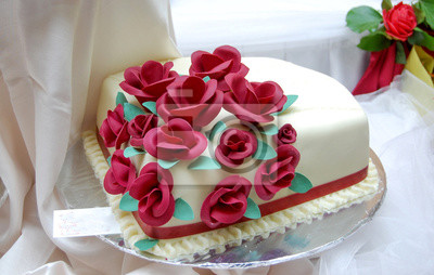 Weisse Hochzeitstorte Mit Roten Rosen Leinwandbilder Bilder