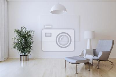 Weiße Leinwand An Der Wand Im Wohnzimmer 3d übertragen