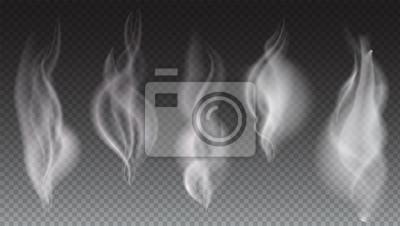 Bild Weiße Rauchwellen auf transparenten Hintergrund Vektor-Illustration