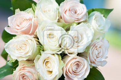 Weisse Rosen Hintergrund Hochzeitsstrauss Leinwandbilder Bilder