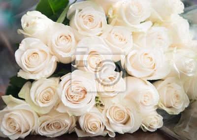 Weisse Rosen Hintergrund Natur Blumen Blumenstrauss Leinwandbilder