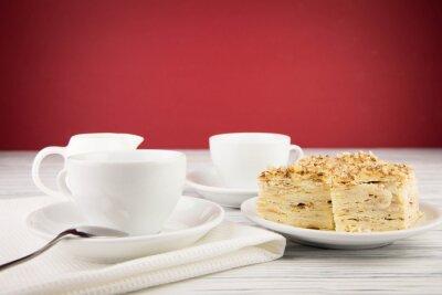 Bild Weiße Tasse Kaffee auf Holz Hintergrund