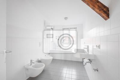 Weißes badezimmer - moderne geflieste badewanne leinwandbilder ...