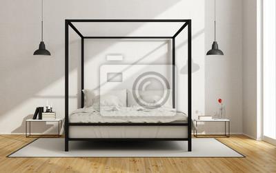 Weißes schlafzimmer mit himmelbett leinwandbilder • bilder ...