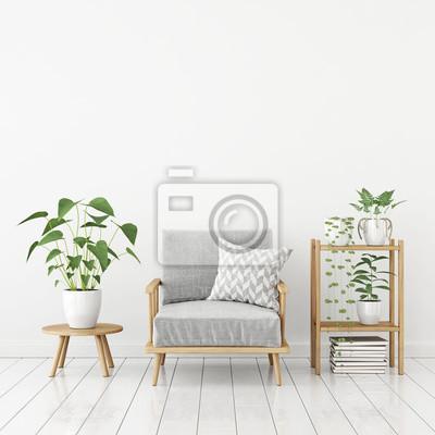 Weißes wohnzimmer im skandinavischen stil mit grauem sessel ...
