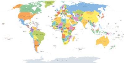 Bild Welt-Einzelstaaten politische Karte mit nationalen Grenzen. Jedes Land mit eigener Farbe. Illustration auf weißem Hintergrund unter Robinson-Projektion. Englische Beschriftung.