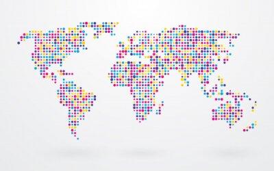 Bild Weltkarte aus kleinen bunten Punkte gemacht
