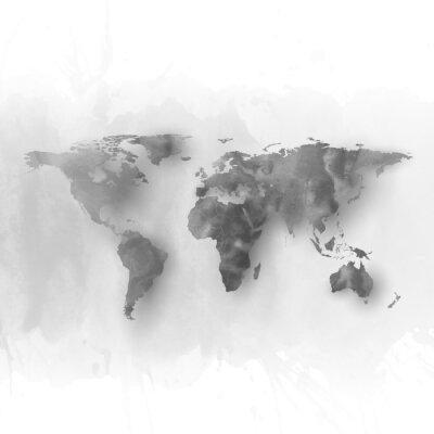 Bild Weltkarte Element, abstrakten Hand gezeichnete Aquarell grau