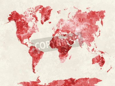 Bild Weltkarte in Aquarellmalerei abstrakte Splatters