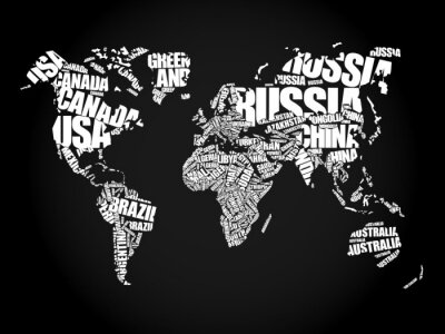Bild Weltkarte in der Typografie Wort Wolke Konzept, Namen der Länder