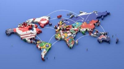Bild Weltkarte mit allen Zuständen und ihre Flaggen, 3d übertragen