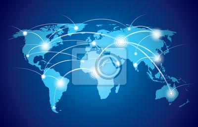 Bild Weltkarte mit globalen Netzwerk
