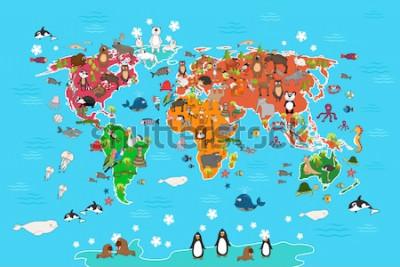 Bild Weltkarte mit Tieren. Affe und Igel, Bär und Känguru, Hase, Wolf, Pinguin und Papagei. Tierweltkarte-Vektorillustration in der Karikaturart