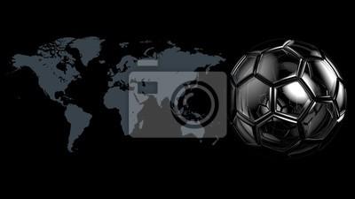 Weltkarte und Fußball. 3D Abbildung. CG Hohe Auflösung.