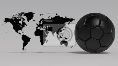 Weltkarte und Fußball. 3D-Darstellung. CG. Hohe Auflösung.