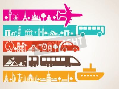 Bild Weltreisen mit verschiedenen Verkehrsmitteln, Orientierungspunkte