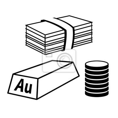 Wertsachen Und Geld Icon Stapel Von Münzen Stapel Von Rechnungen