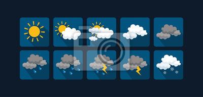Bild Wetter Vektor Symbole flaches Design - Set1