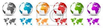 Bild White 3D Vector Globen mit Weltkarten in der gleichen Farbe. Planet Erde-Sammlung mit bunten Kontinenten