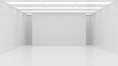 Bild White clean empty architecture interior space room studio background wall display products minimalistic. 3d rendering.