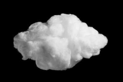 Bild White cotton wool cloud on black background close-up