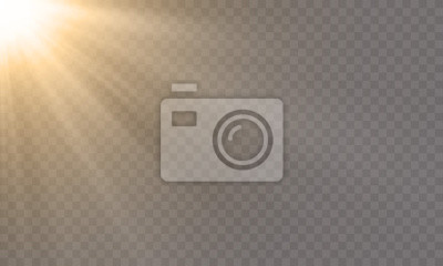 Bild White glowing light explode effect and sun rays shine on vector transparent background