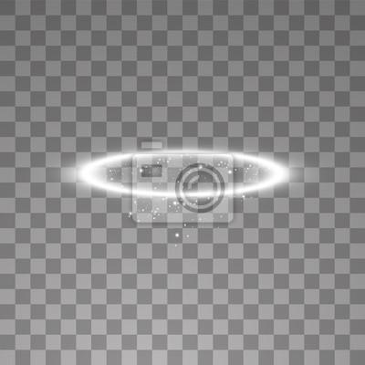 Bild White halo angel ring. Isolated on black transparent background, vector illustration