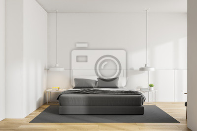 Bild White master bedroom interior, wood floor