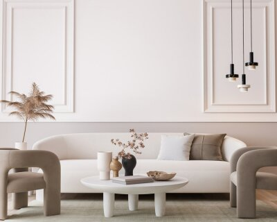 Bild White modern living room, minimal home design mockup on empty bright background, 3d render