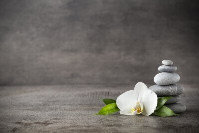 Bild White orchid and spa stones on the grey background.
