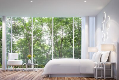 White schlafzimmer modernen minimalistischen stil weißes bett ...