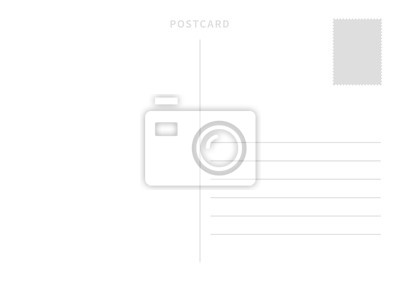 Bild White simple postcard template with place for stamp and address