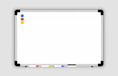 Bild Whiteboard. Realistic Empty office white marker board. Whiteboard with marker pens and a sponge. Mock-up office white blackboard. Office Whiteboard template